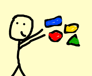 Man yeeting primary coloured shapes,plusgreen