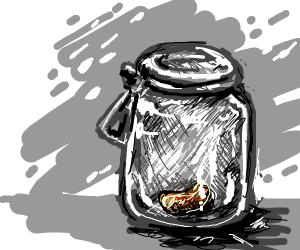 One bean in a jar