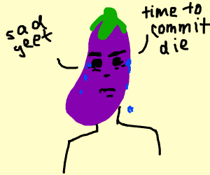 Person With Eggplant Shaped Head Is Depressed