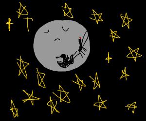 santa shadow on moon