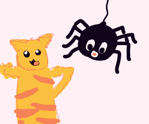 cat thing and giant spider are bros