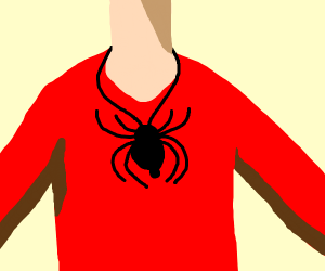 Spider necklace on t shirt