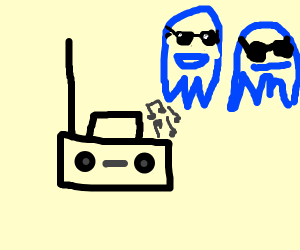 two cool blue ghosts listen to boombox