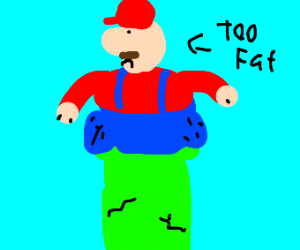 mario is too fat to fit in a pipe