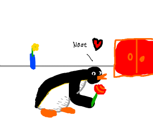 Pingu offers you a rose and noots seductivly