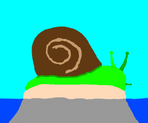 giant green snaill on a island