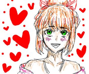 Cute blushing ginger girl