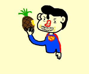 Superman eating a Pineapple