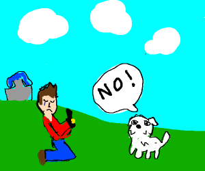a man proposing to a dog and getting rejected