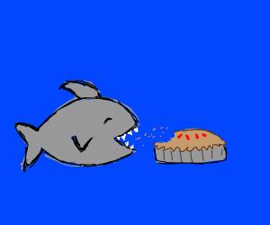 Gray shrek eats pie