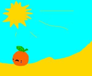crying orange in a desert