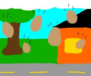 raining brown eggs