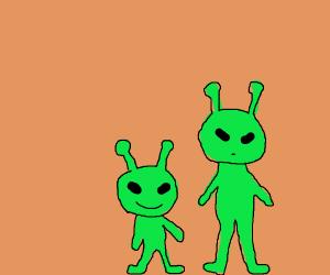 short alien is smiling