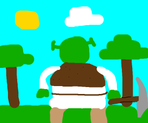 Shrek plays minecraft