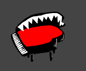 Piano monster with a mouth