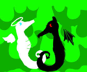 devil and white seahorse with slime