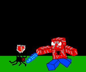 bruh spider-man be slayin spiders in minecraf