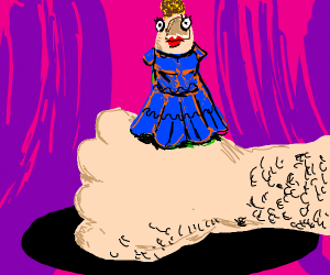 a thumb in a blue dress with a face and hair