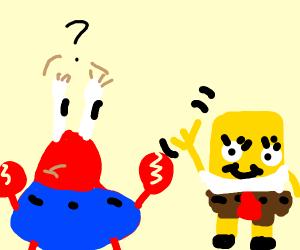 Mr. crabs wondering why sponge bob is waving