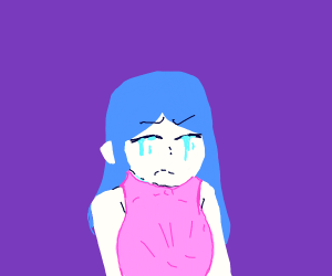 crying blue haired anime girl