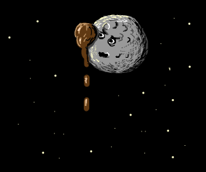 someone threw poop at the moon and its angry