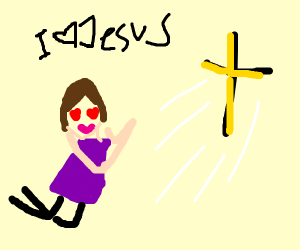happy girl loves God