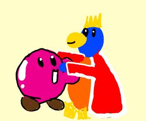 kirby hugging king Dedede