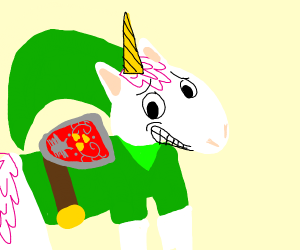 Unicorn dressed as Link