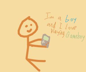 Boy plays Gameboy