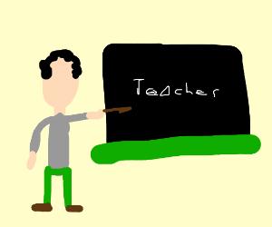 Teacher teaching on a chalkboard
