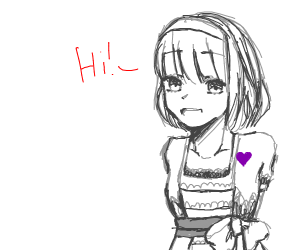 colorless lady with purple heart says hi