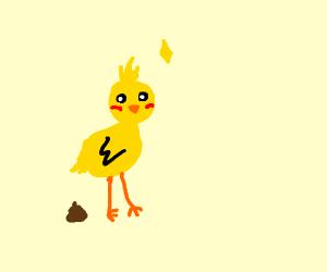 little baby chicken takin a poop