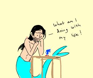 Mermaid man speaking to sonic figure