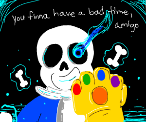 Sans with an Infinity Gauntlet