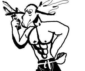 Buff deer man with energy