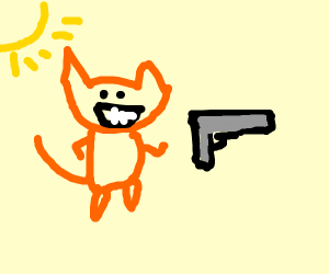 a cat with teeth stands next to a gun