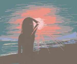 Girl facing a sunset
