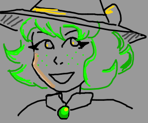 Witch with green hair