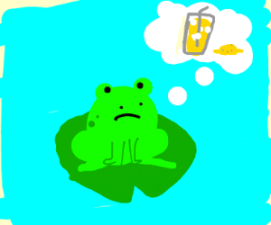 Frog in a pond wants some lemonade