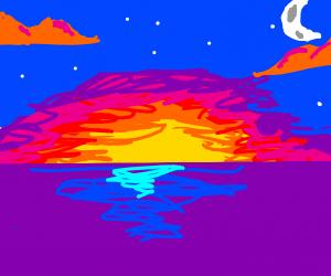 A Beautiful Sunset Over an Ocean