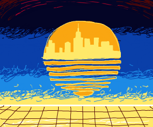 City (literally) in a sunset