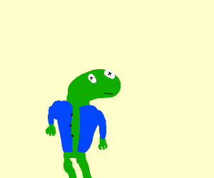 Confused red eyed tree frog with a blue shirt
