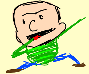 Calvin but he's bald and has green stripes