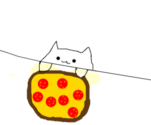 a cat loves pizza btw its going to pizza