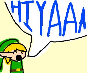 "An angry lil Link who's yelling ""HIYAAA"""