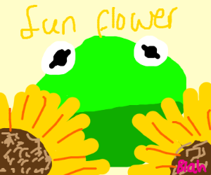 Kermit with sunflowers