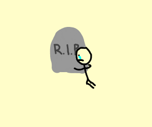 Sad man hugging a gravestone