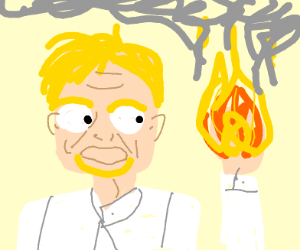 Gordon Ramsey wonders why his hand is on fire