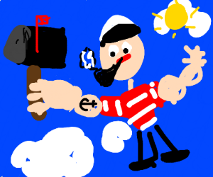 Popeye flying with a Mailbox