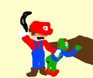 Mario about to belt a zombie child
